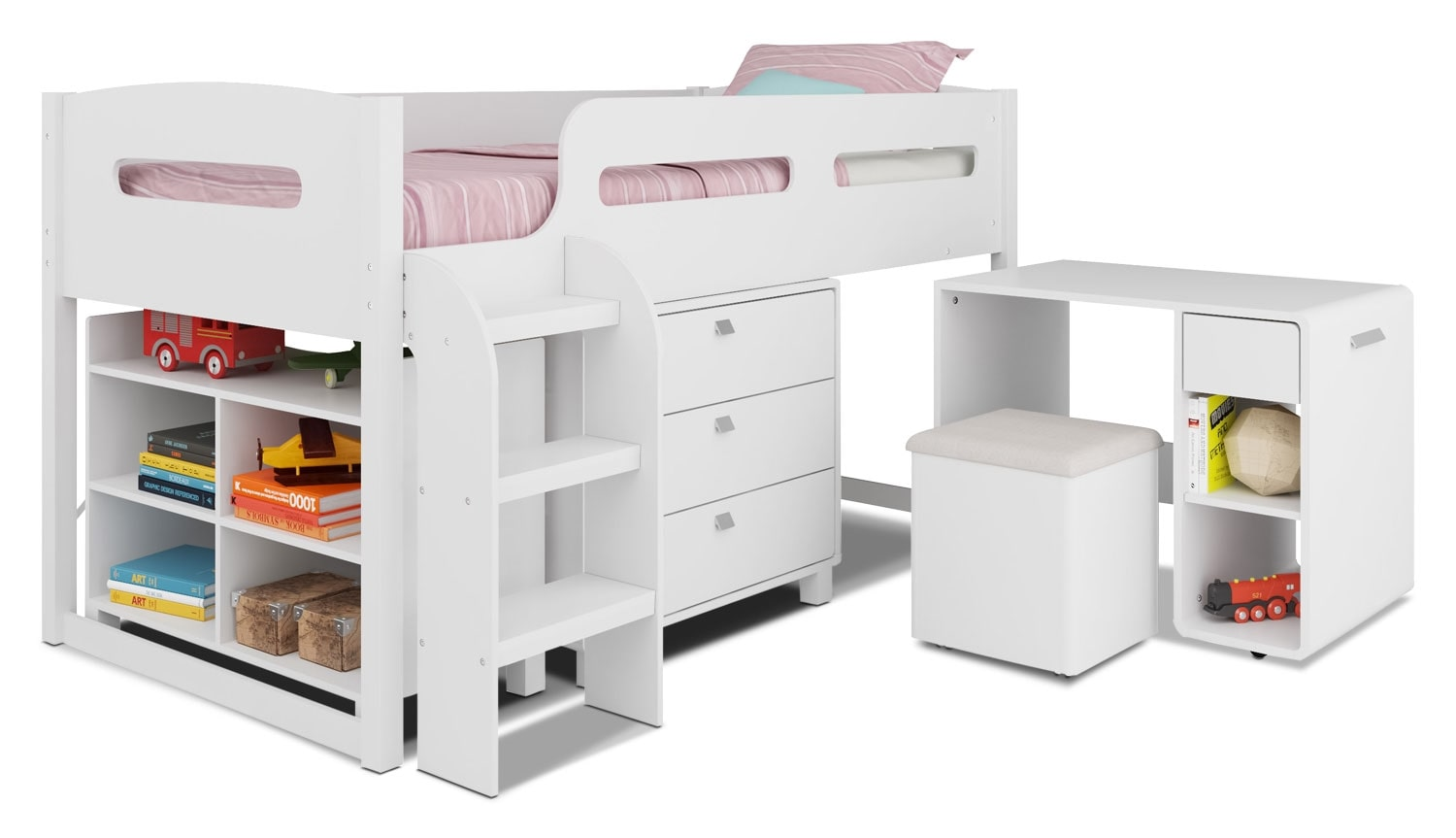 CorLiving Loft Bed with Roll-Out Desk – Snow White