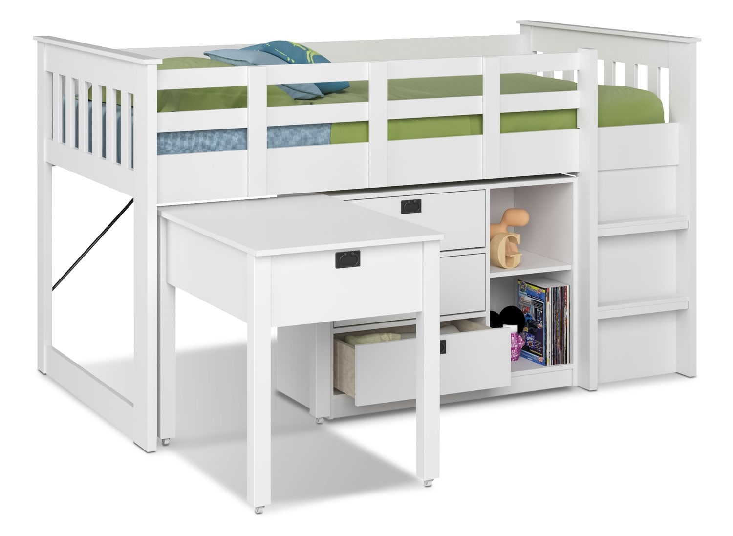CorLiving Slatted Loft Bed with Roll-Out Desk – Snow White