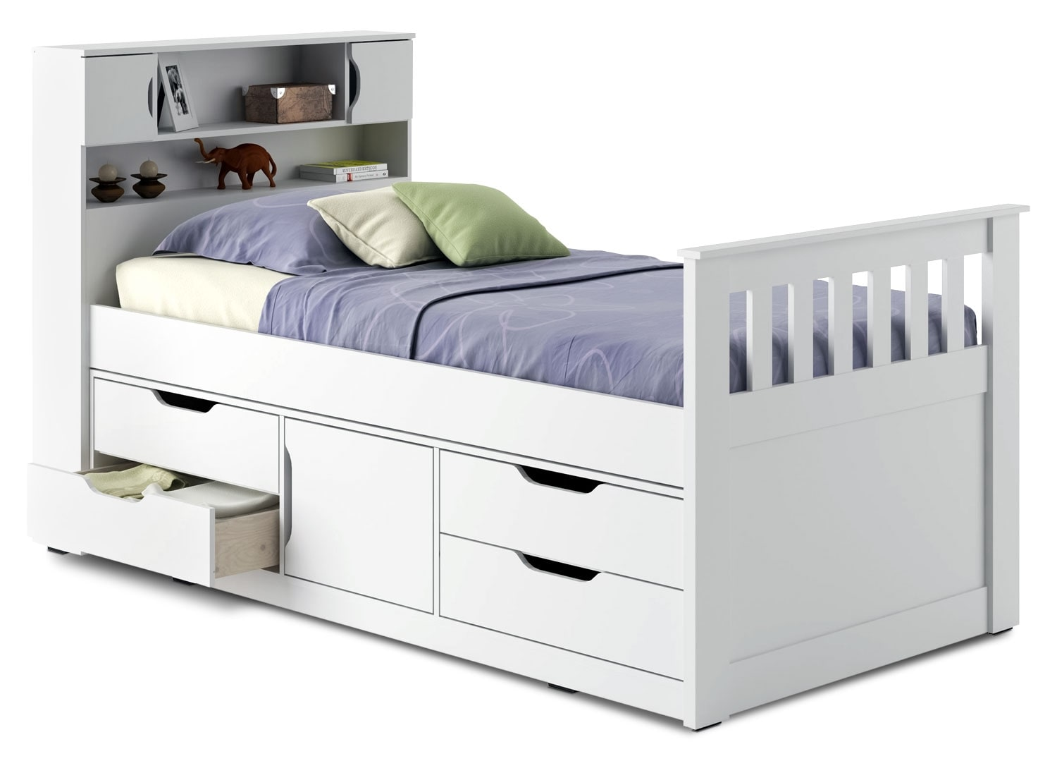 Kids Furniture - CorLiving Twin Captain's Bed – Snow White