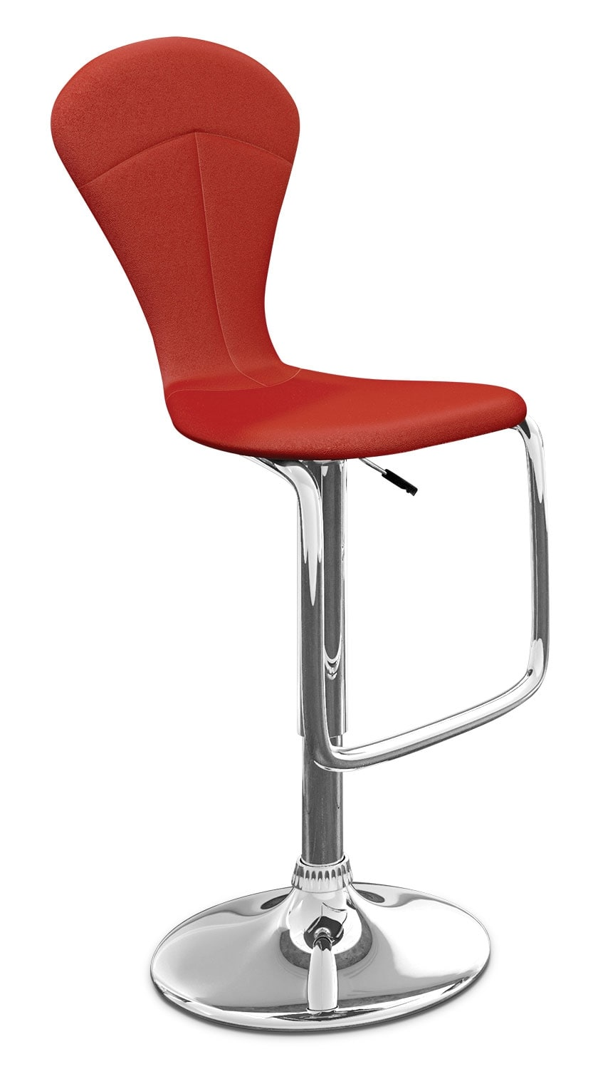 Dining Room Furniture - CorLiving Tapered Full-Back Adjustable Bar Stool - Red
