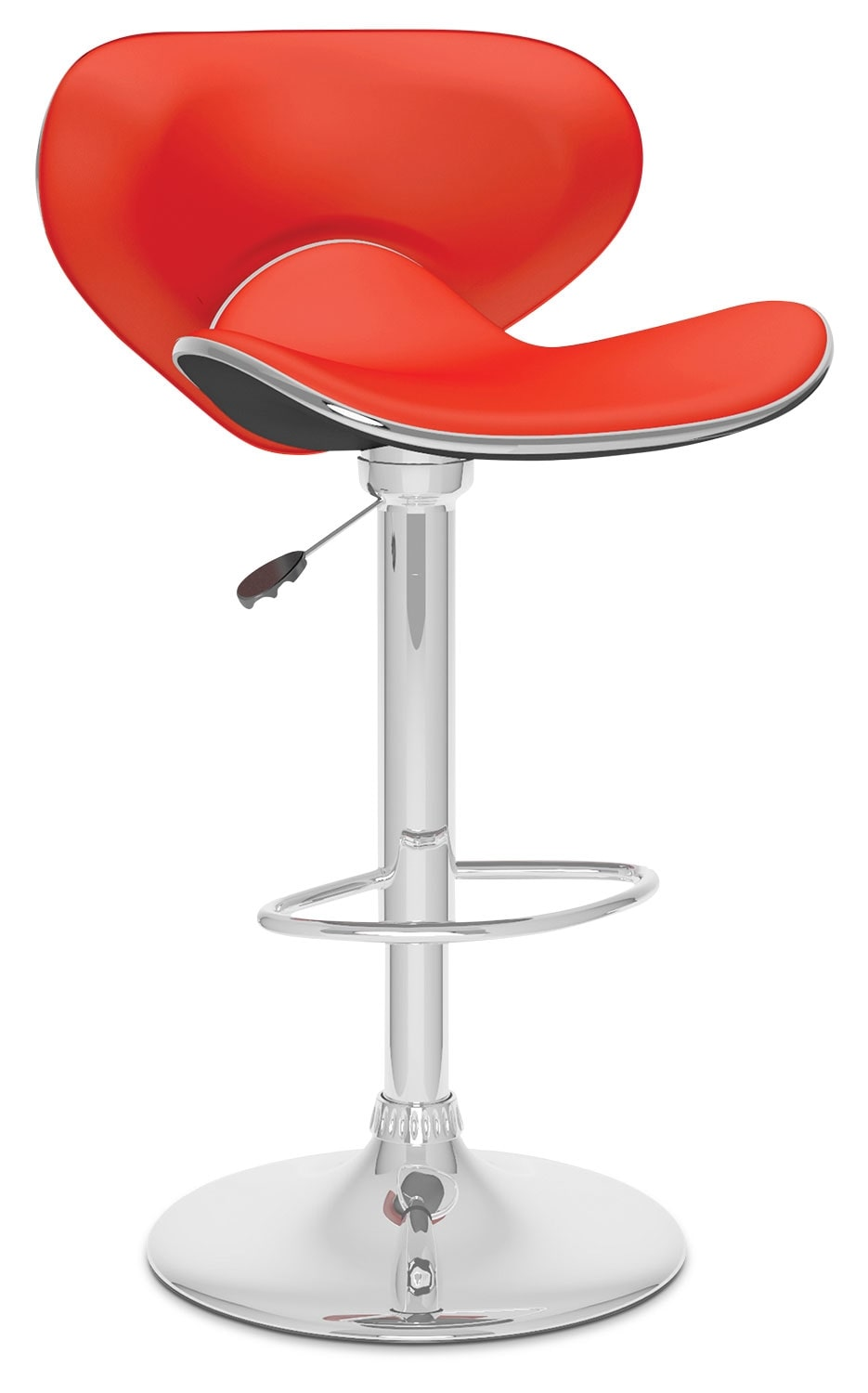 Dining Room Furniture - CorLiving Curved Form-Fitting Adjustable Bar Stool - Red