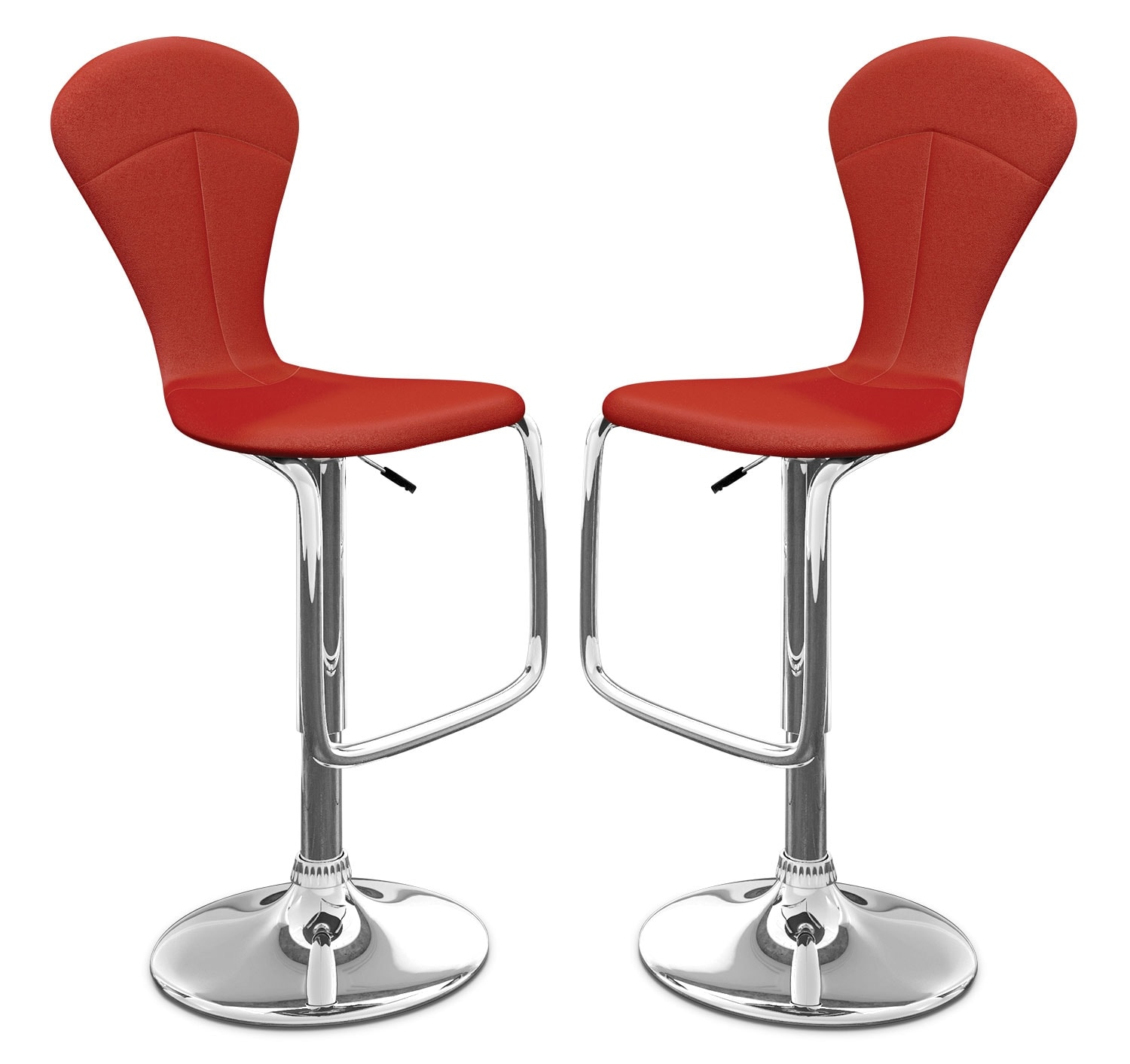 Dining Room Furniture - CorLiving Tapered Full-Back Adjustable Bar Stool, Set of 2 – Red