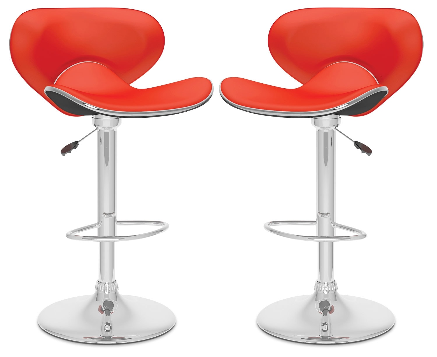 Dining Room Furniture - CorLiving Curved Form-Fitting Adjustable Bar Stool, Set of 2 – Red
