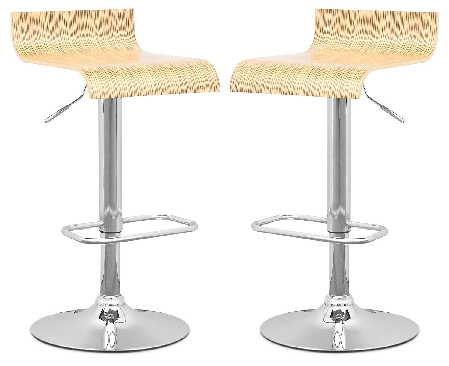 CorLiving Curved-Seat Adjustable Bar Stool, Set of 2