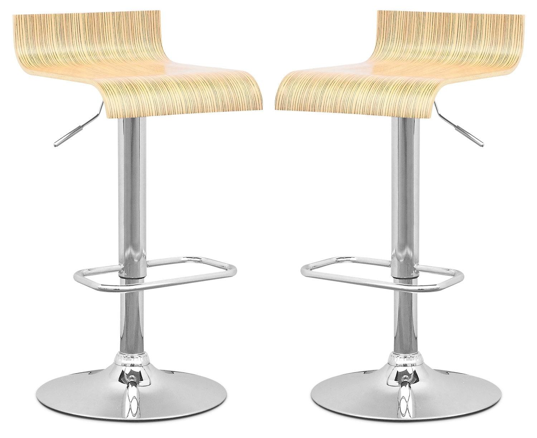 Dining Room Furniture - CorLiving Curved-Seat Adjustable Bar Stool, Set of 2