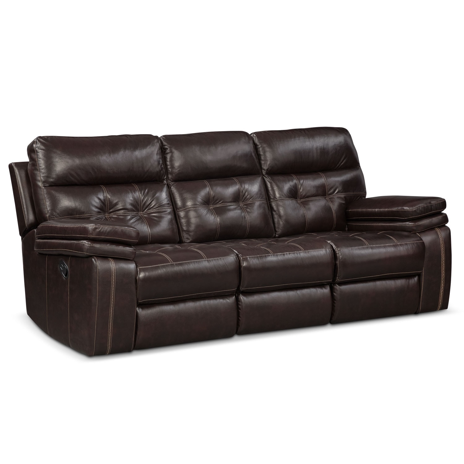 Brisco manual reclining loveseat brown value city furniture Chocolate loveseat