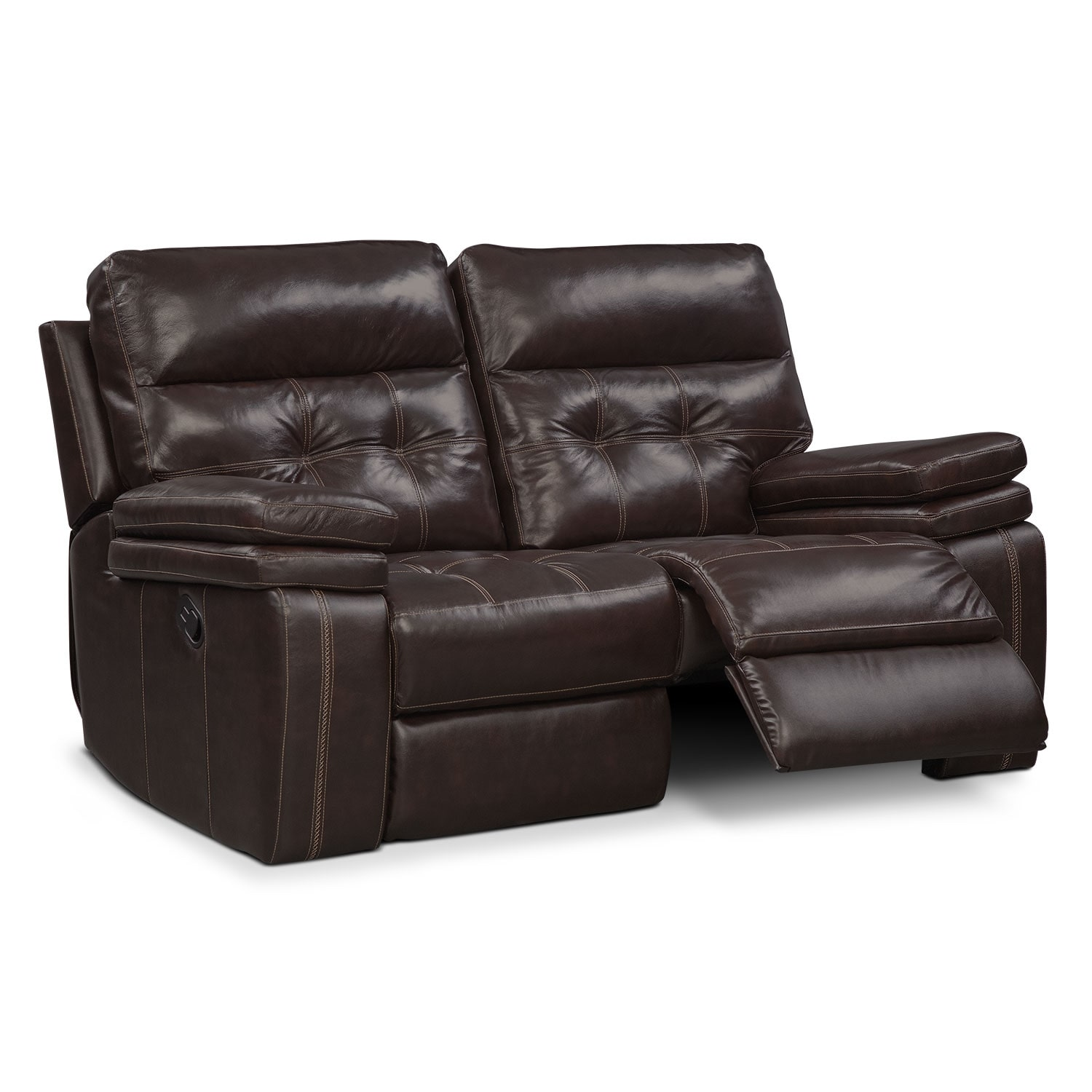 Brisco Manual Reclining Loveseat Brown Value City Furniture