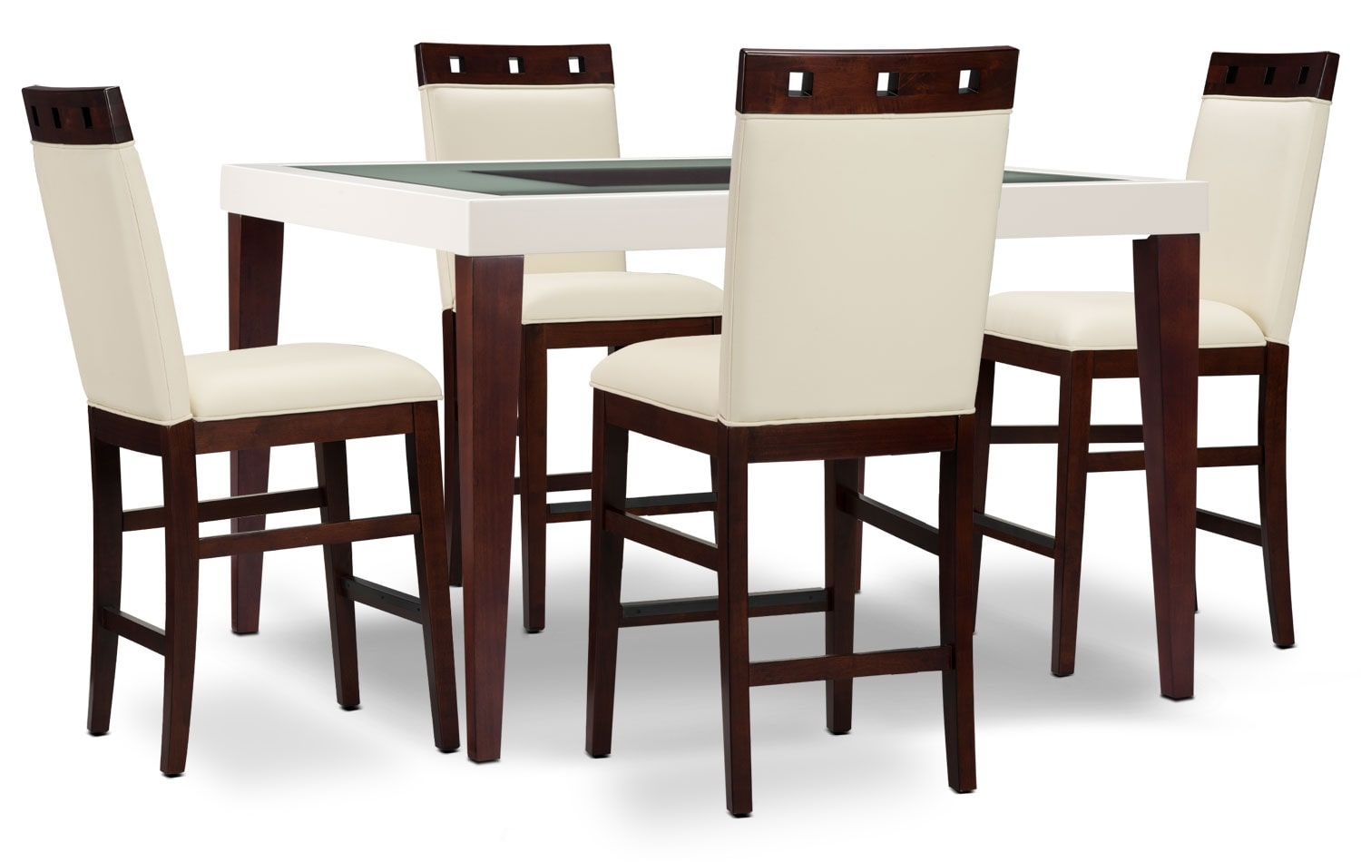 Dining Room Furniture - Zeno 5-Piece Counter-Height Dining Package with Wood Top Chair