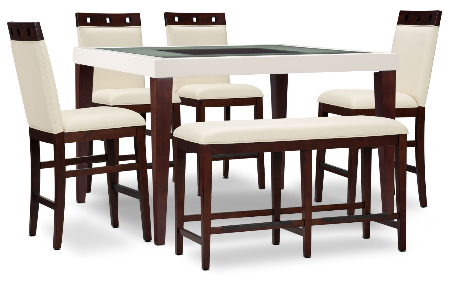 Dining Room Furniture - Zeno 6-Piece Counter-Height Dining Package with Wood Top Chair