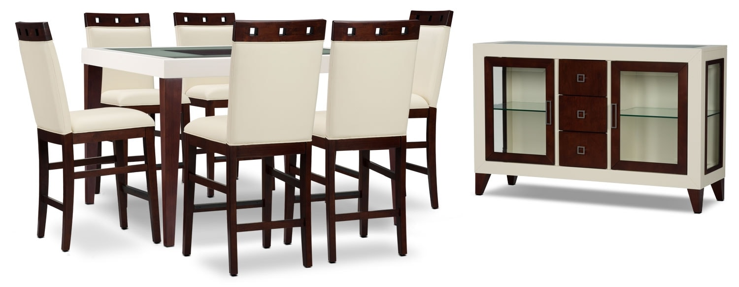 Zeno 8-Piece Counter-Height Dining Package with Wood Top Chair