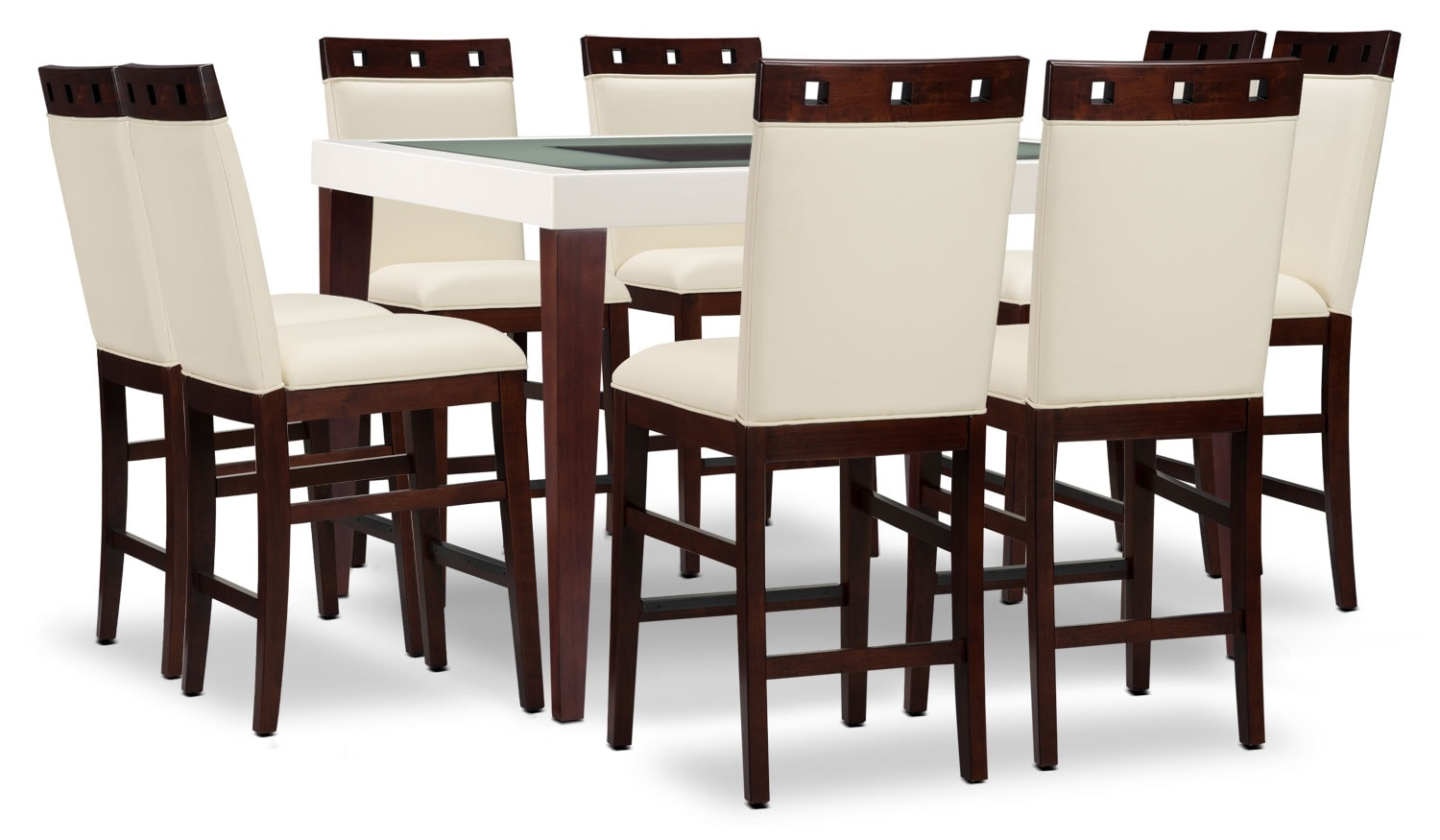 Dining Room Furniture - Zeno 9-Piece Counter-Height Dining Package with Wood Top Chair