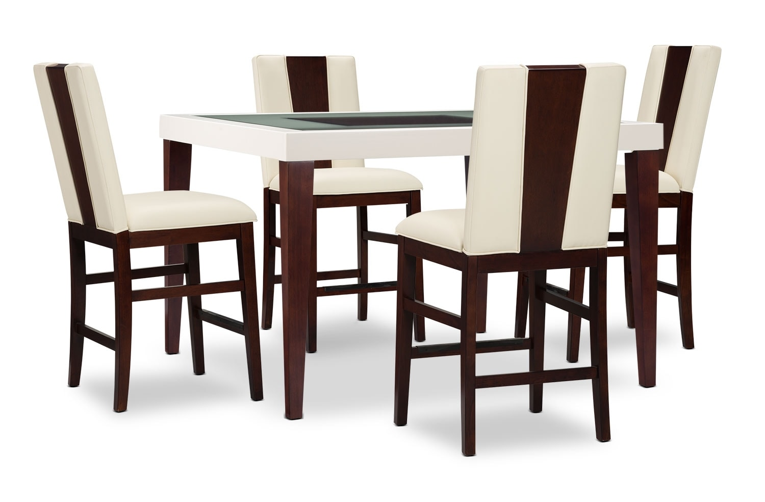 Dining Room Furniture - Zeno 5-Piece Counter-Height Dining Package with Wood Back Chair
