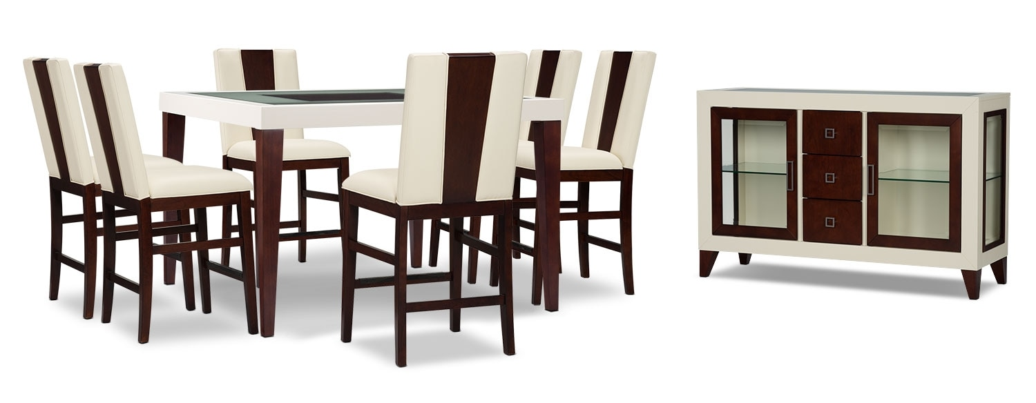 Zeno 8-Piece Counter-Height Dining Package with Wood Back Chair