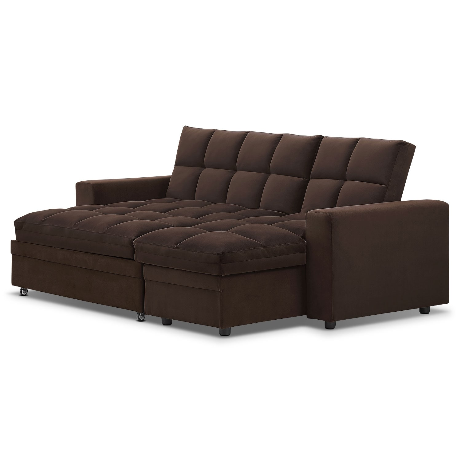 Metro chaise sofa bed with storage brown value city for Furniture sofa bed