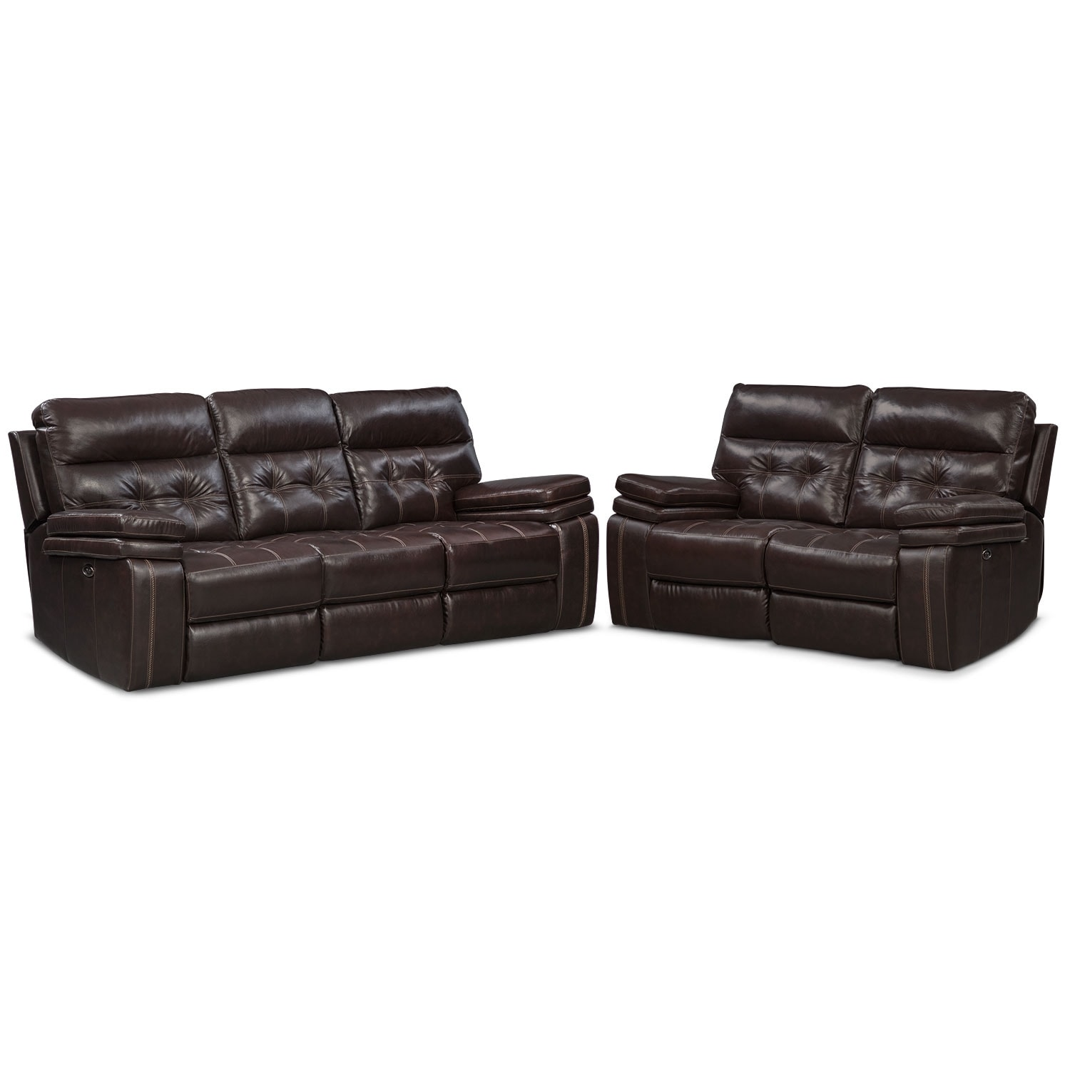 Brisco Power Reclining Sofa And Reclining Loveseat Set Brown Value City Furniture
