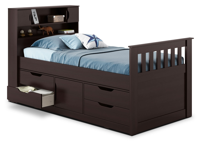 Kids Furniture - CorLiving Twin Captain's Bed – Espresso