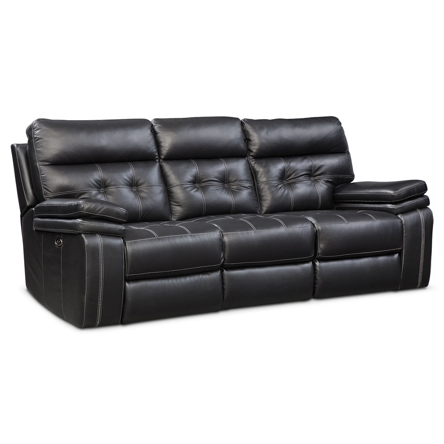 Brisco Power Reclining Sofa Black Value City Furniture