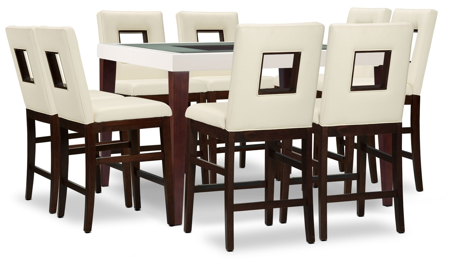 Dining Room Furniture - Zenoe 9-Piece Counter-Height Dining Package