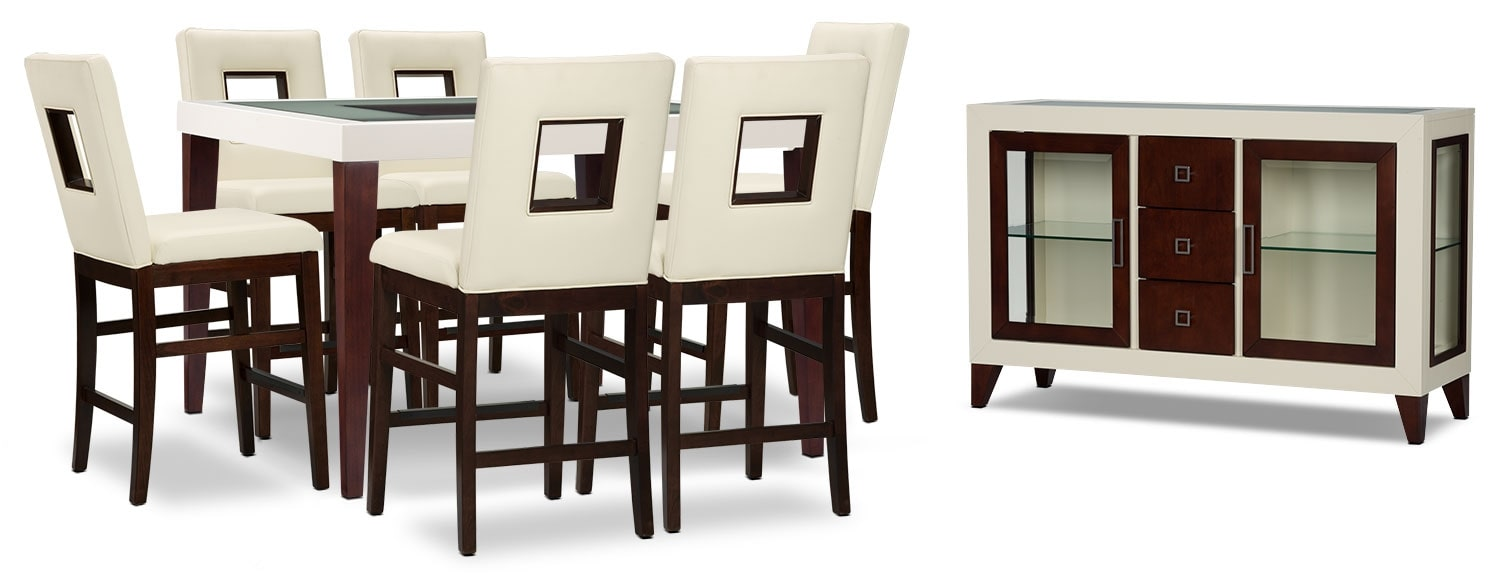 Zenoe 8 Piece Counter Height Dining Package