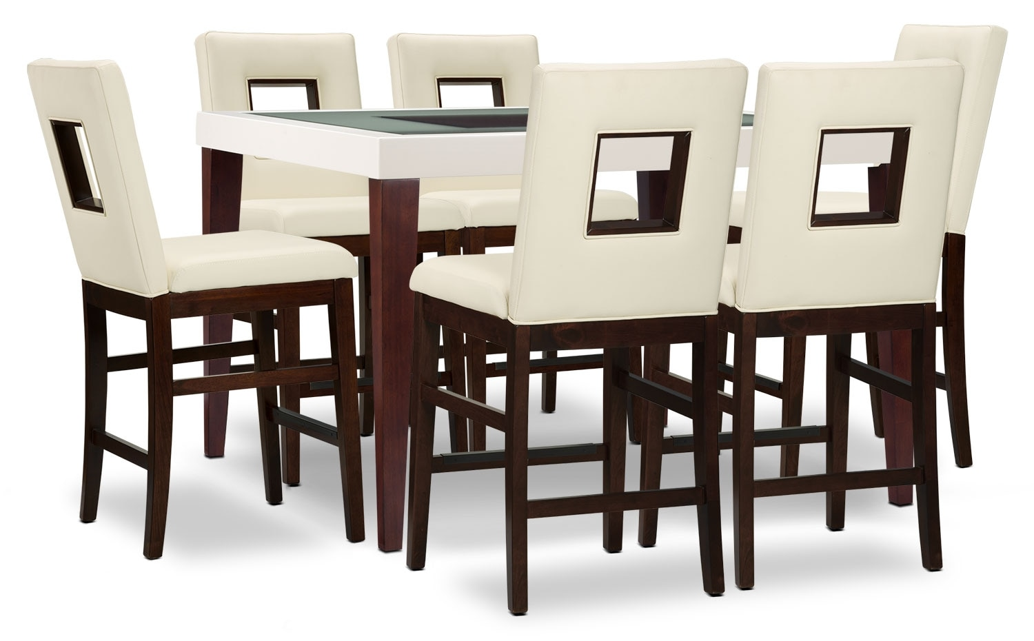 Dining Room Furniture - Zenoe 7-Piece Counter-Height Dining Package