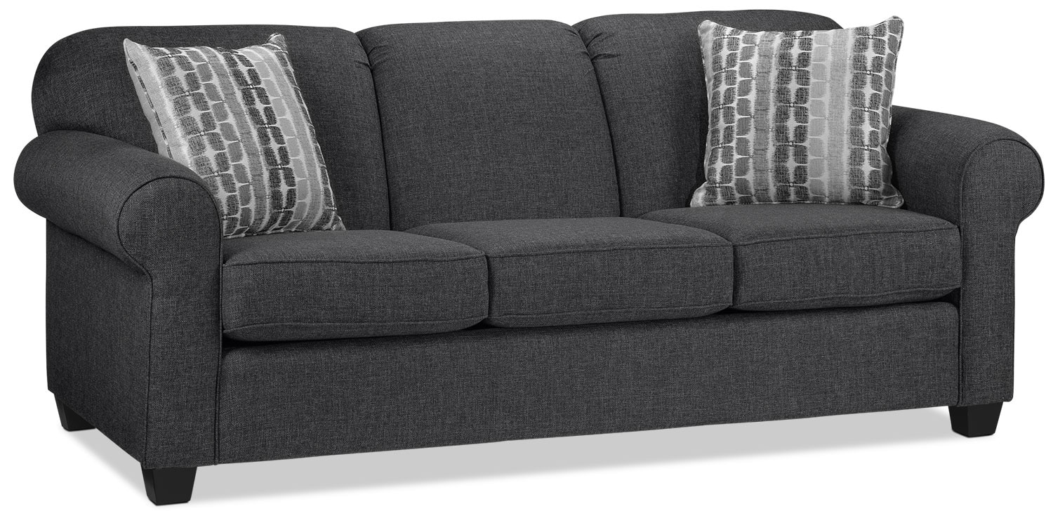 Aristotle sofa graphite leon39s for Couch vs sofa canada