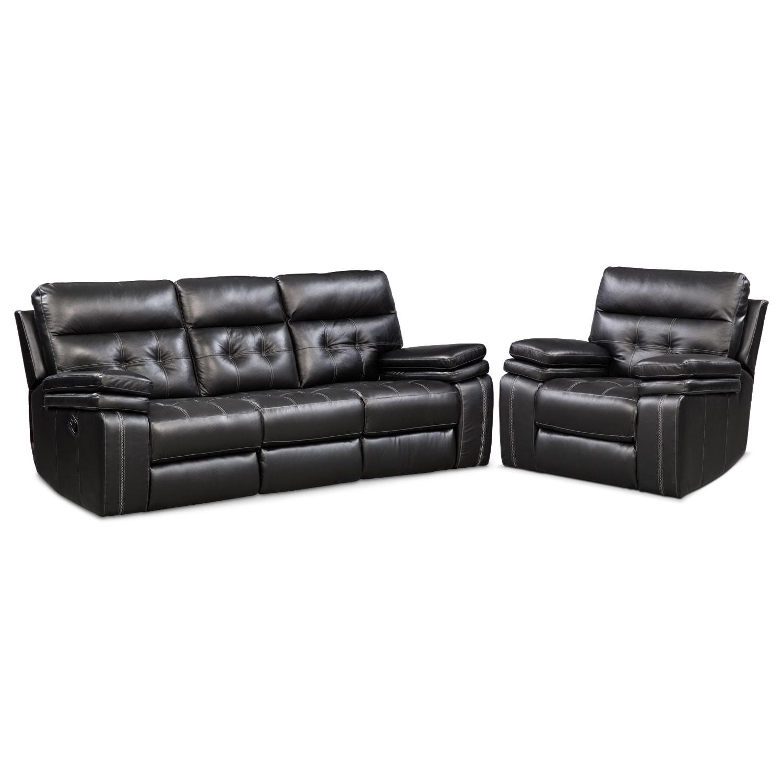 Brisco Manual Reclining Sofa And Recliner Set Black