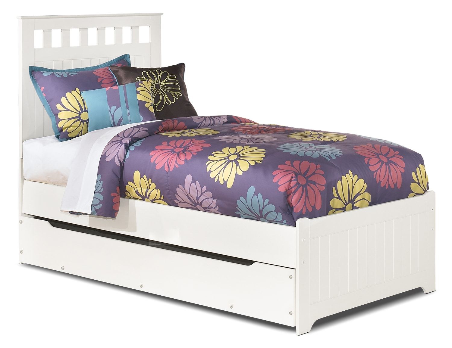Kids Furniture - Lulu Twin Panel Bed with Trundle