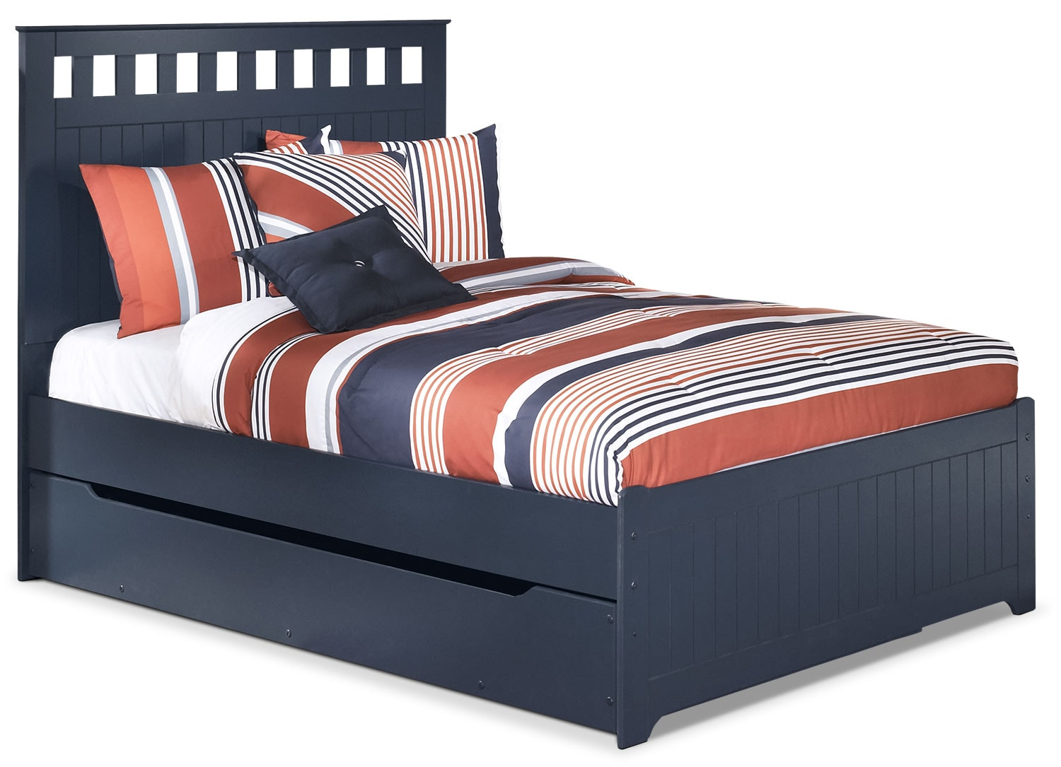 Kids Furniture - Leo Full Panel Bed with Trundle