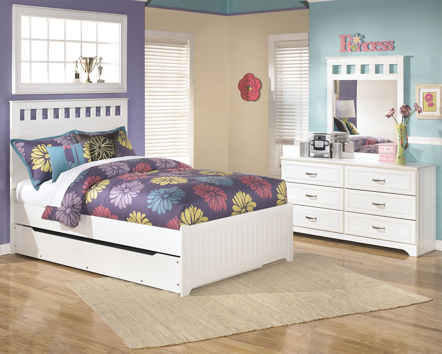 Kids Furniture - Lulu 5-Piece Full Panel Bed Package with Trundle
