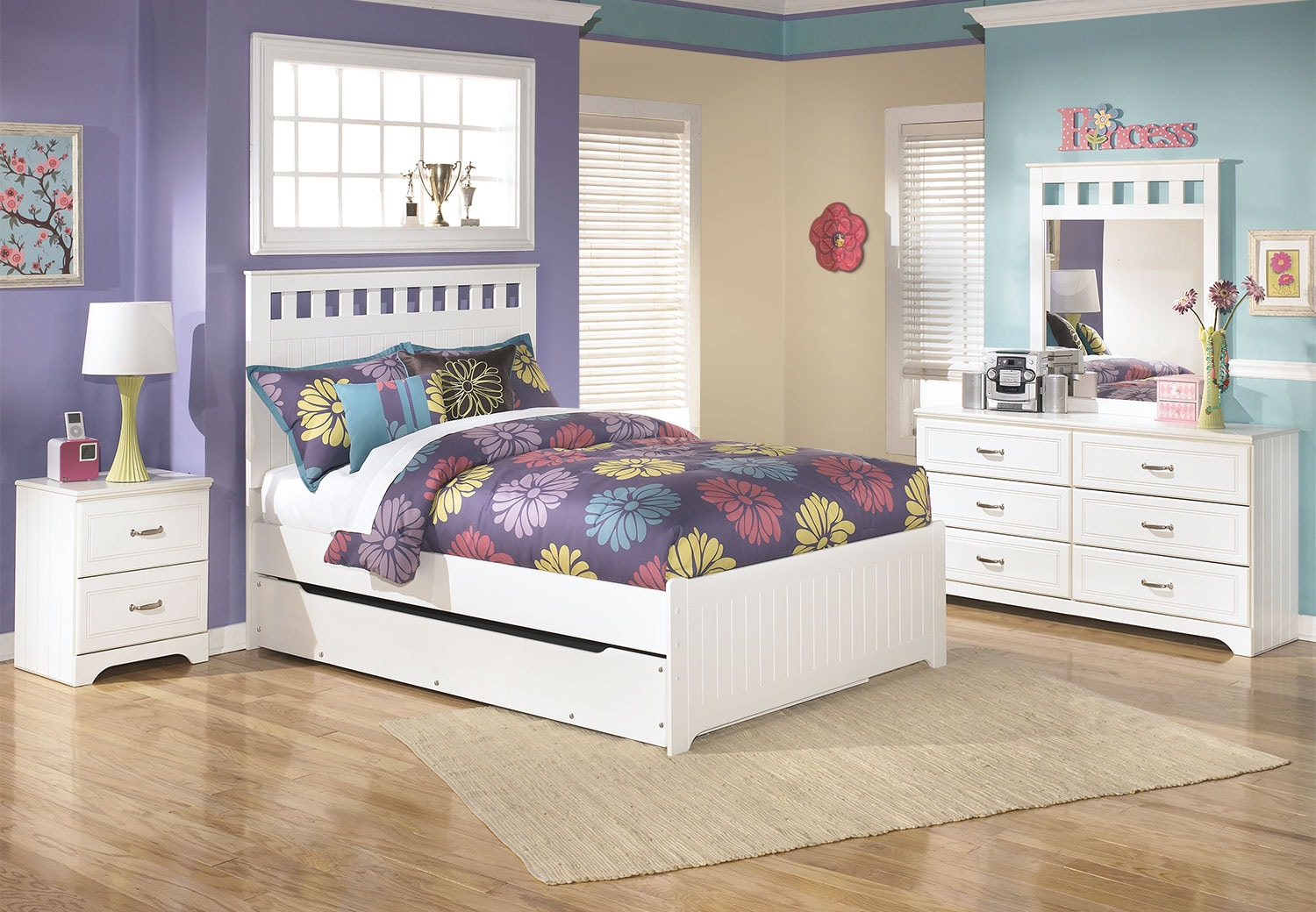 Kids Furniture - Lulu 6-Piece Full Panel Bed Package with Trundle