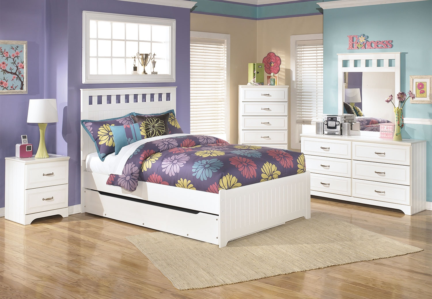 Kids Furniture - Lulu 7-Piece Full Panel Bed Package with Trundle