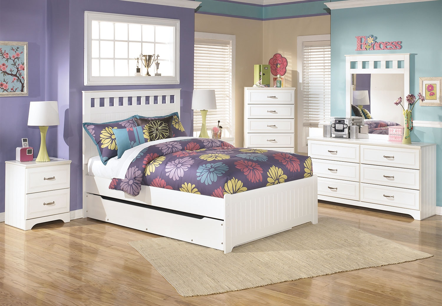 Lulu 8-Piece Full Panel Bed Package with Trundle