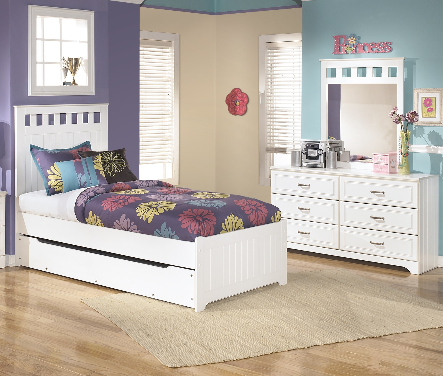 Kids Furniture - Lulu 5-Piece Twin Panel Bed Package with Trundle