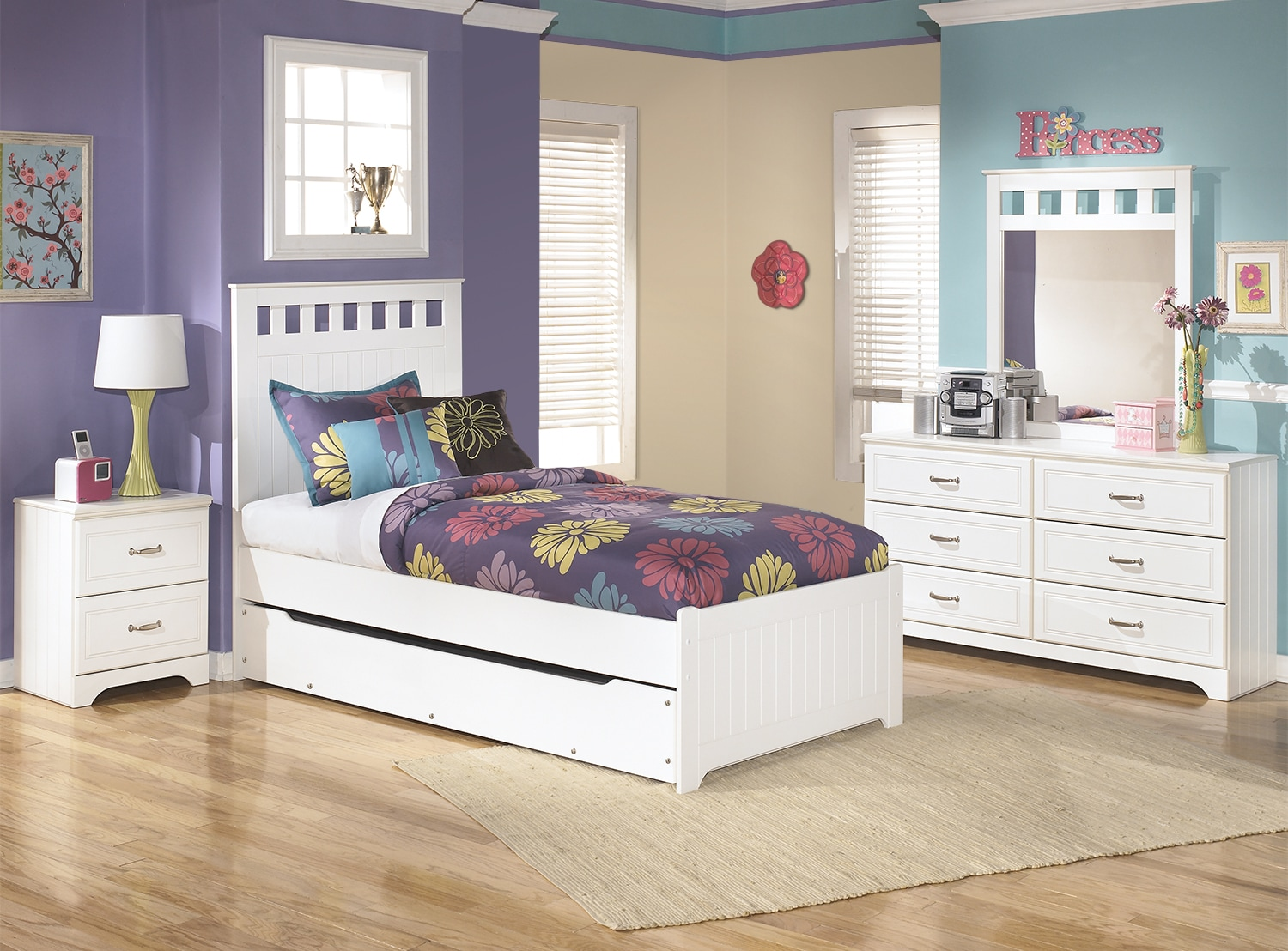 Kids Furniture - Lulu 6-Piece Twin Panel Bed Package with Trundle