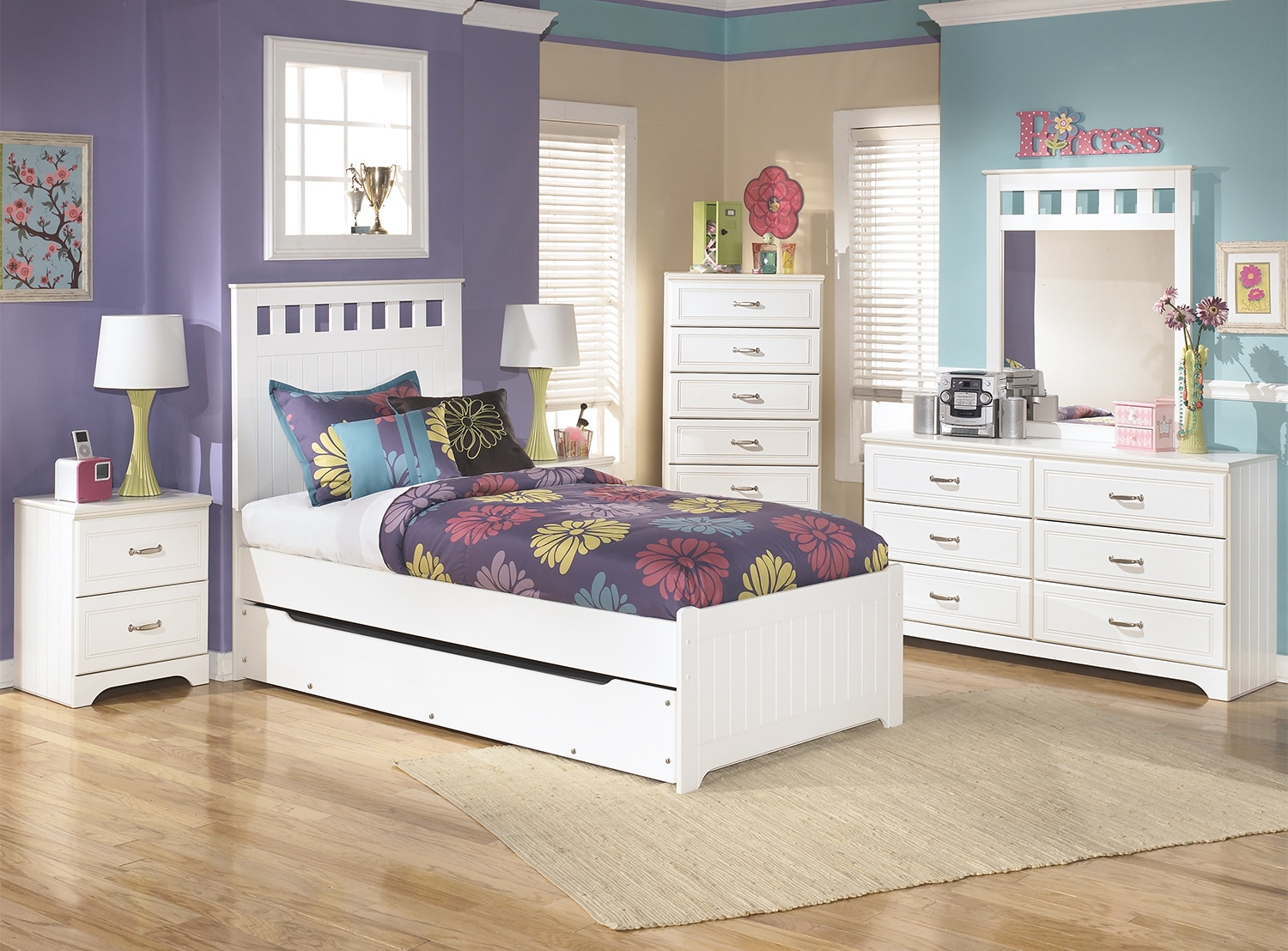 Kids Furniture - Lulu 8-Piece Twin Panel Bed Package with Trundle