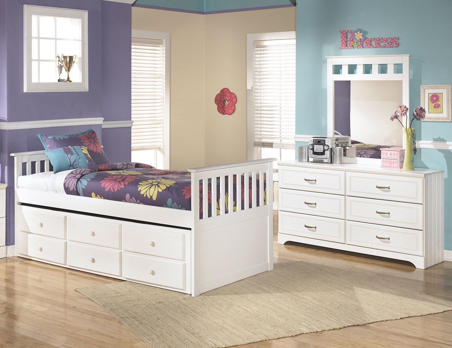 Kids Furniture - Lulu Twin Captain's Trundle 5-Piece Package