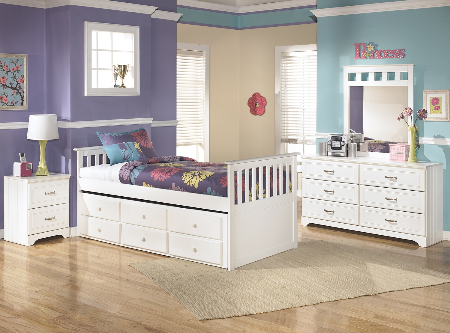 Kids Furniture - Lulu Twin Captain's Trundle 6-Piece Package