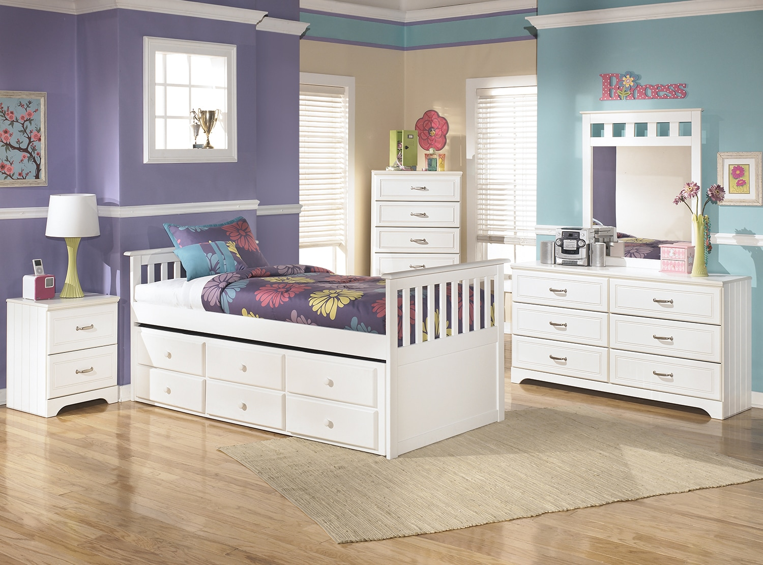 Kids Furniture - Lulu Twin Captain's Trundle 7-Piece Package