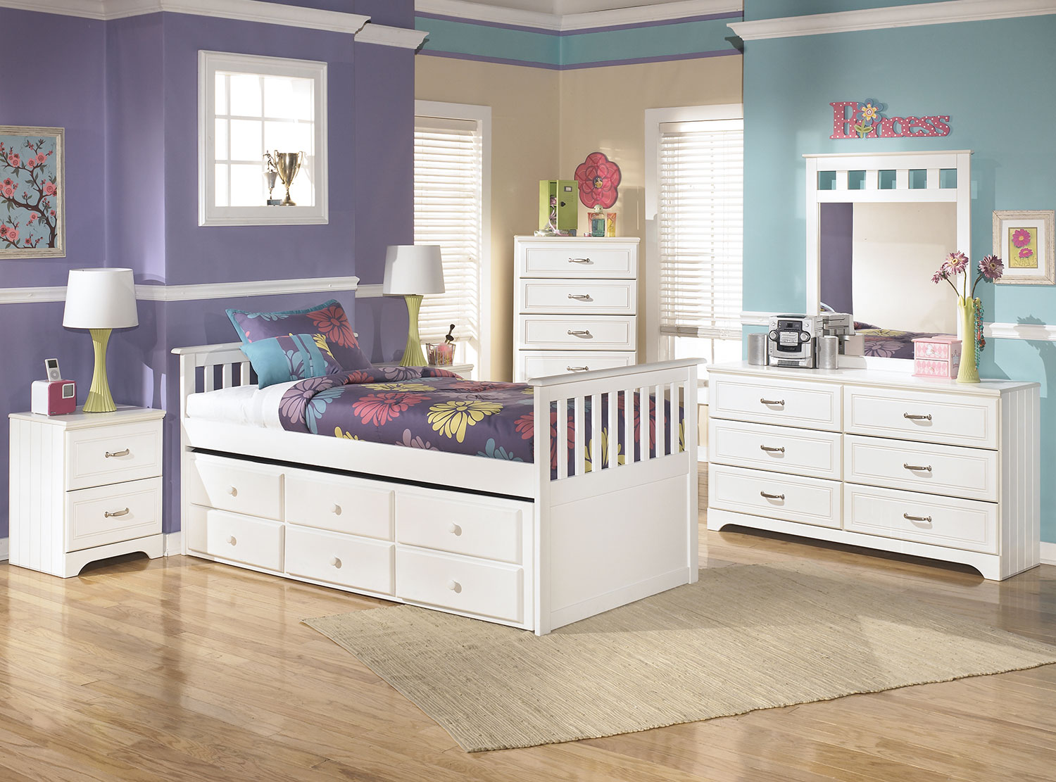 Kids Furniture - Lulu Twin Captain's Trundle 8-Piece Package