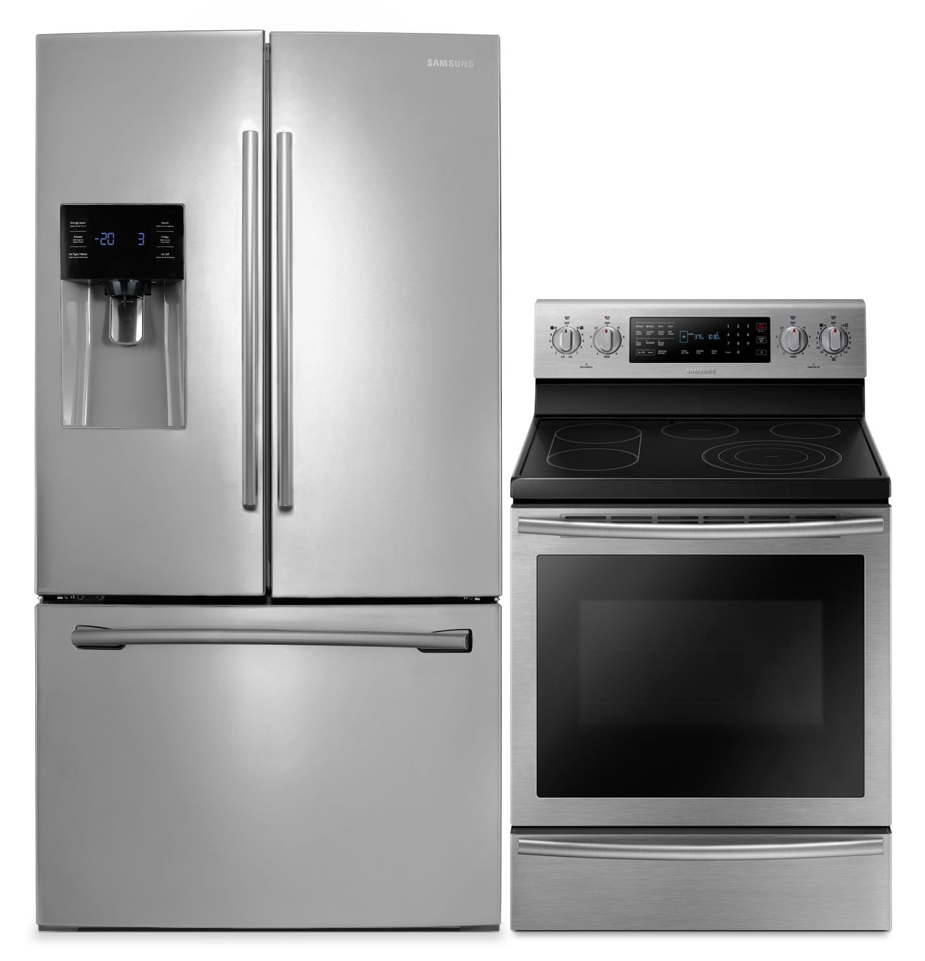Cooking Products - Samsung 26 Cu. Ft. French-Door Refrigerator and 5.9 Cu. Ft. Electric Range – Stainless Steel