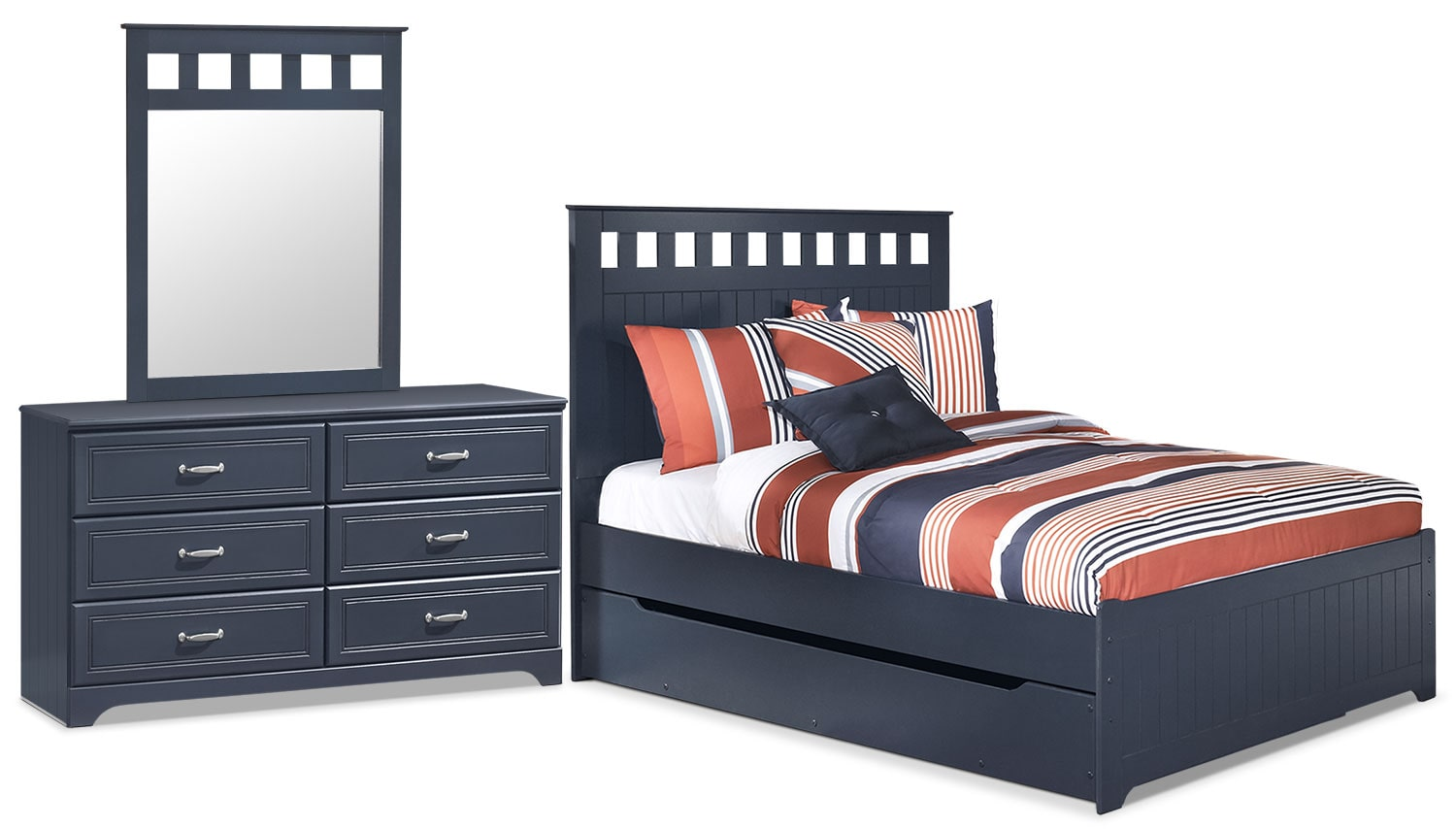 Kids Furniture - Leo 5-Piece Full Panel Bed Package with Trundle