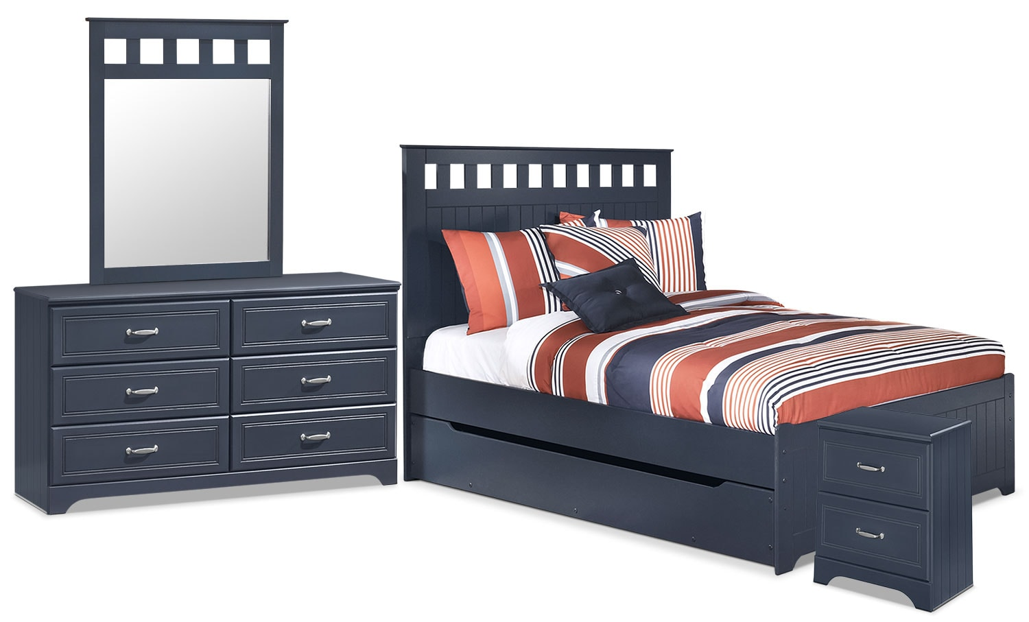 Kids Furniture - Leo 6-Piece Full Panel Bed Package with Trundle