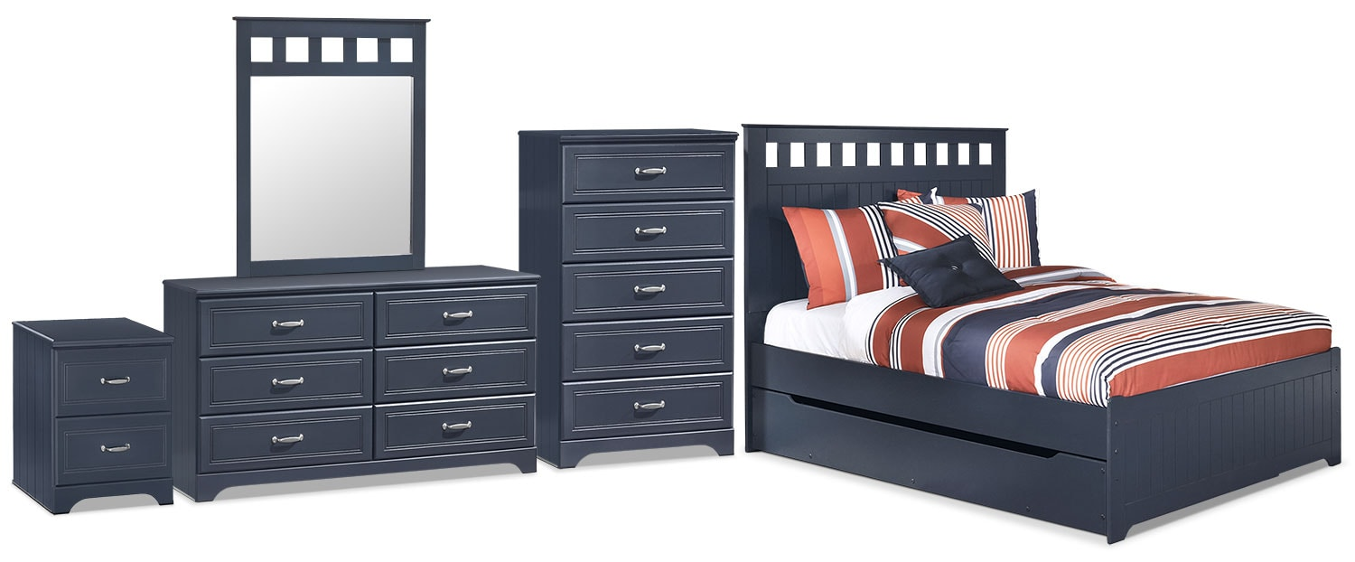 Leo 7-Piece Full Panel Bed Package with Trundle