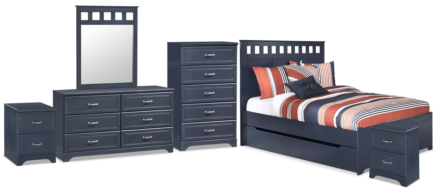 Leo 8-Piece Full Panel Bed Package with Trundle