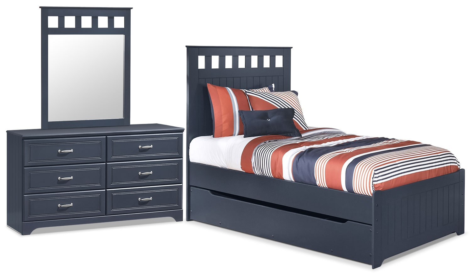 Kids Furniture - Leo 5-Piece Twin Panel Bed Package with Trundle