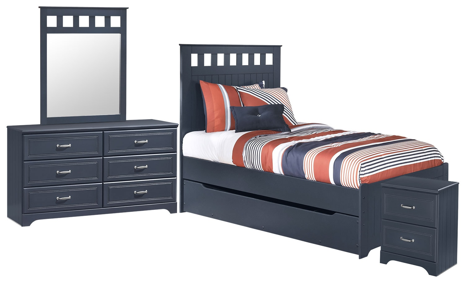 Kids Furniture - Leo 6-Piece Twin Panel Bed Package with Trundle