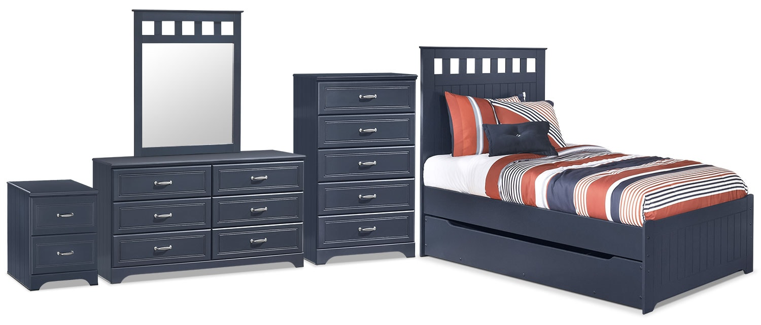 Leo 7-Piece Twin Panel Bed Package with Trundle