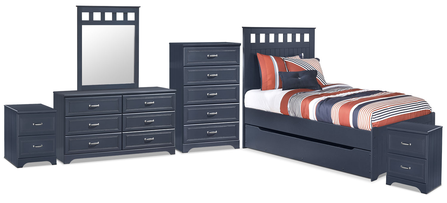 Kids Furniture - Leo 8-Piece Twin Panel Bed Package with Trundle