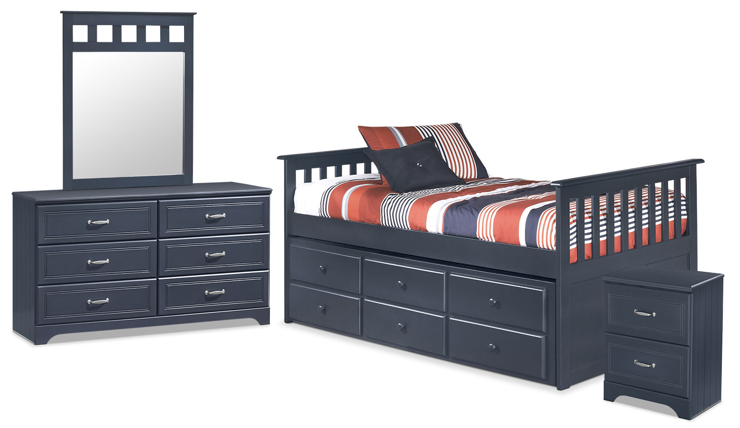 Kids Furniture - Leo Twin Captain's Trundle 6-Piece Package