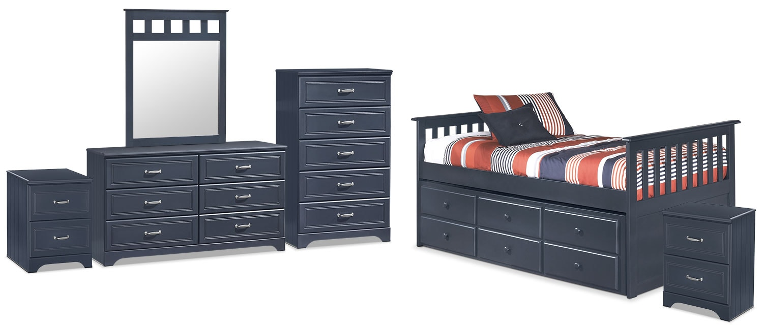 Kids Furniture - Leo Twin Captain's Trundle 8-Piece Package